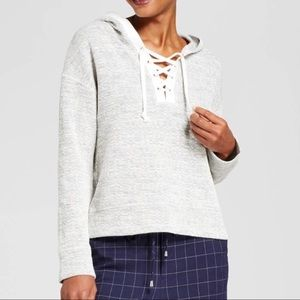 A New Day Grey Piped Lace Up Hoodie